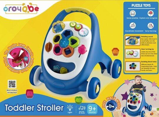 18001-多功能燈光音樂兒童學習步行車_Multifunction Toddler Stroller with blocks-Blue