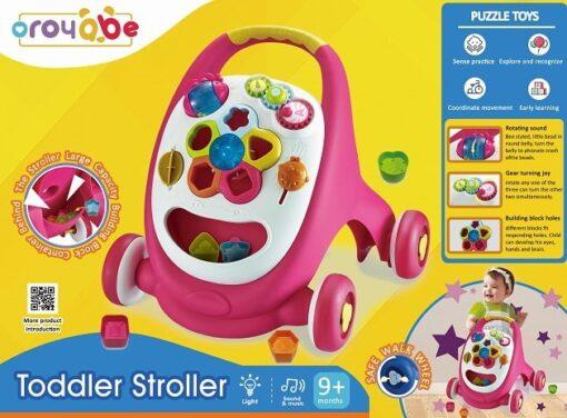18002-多功能燈光音樂兒童學習步行車_Multifunction Toddler Stroller with blocks-Pink