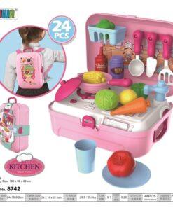 8742_GIRL MAKEUP BACKPACK TOY SET(21PCS)_聲光廚房背包玩具套裝(24件)