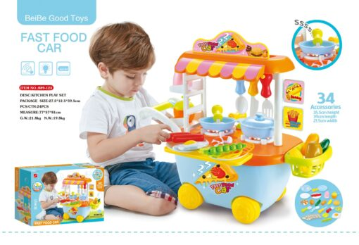 889-125_Light & sound fastfood car kitchen play set(Blue)_燈光音樂快餐車廚房套裝(藍色)