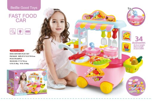 889-126_Light & sound fastfood car kitchen play set(Pink)_燈光音樂快餐車廚房套裝(粉紅色)