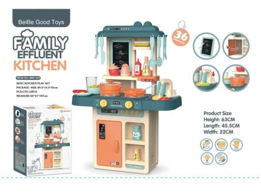 889-169_FAMILY EFFLUENT KITCHEN PLAY SET (WITH LIGHT)_燈光出水廚房(藍)
