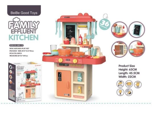 889-170_FAMILY EFFLUENT KITCHEN PLAY SET (WITH LIGHT)_燈光出水廚房(粉紅)