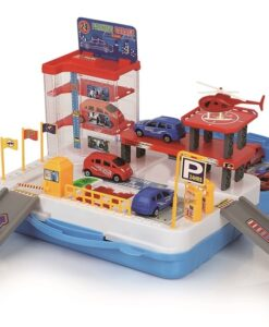 92801_Parking Garage Suitcase Playset(with plastic car 2 + helicopter 1)_停車場手提箱組合(配膠車2架+直昇機1架)