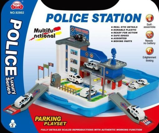 92802_Police Station Suitcase Playset(with plastic police car_警察局車場手提箱組合(配膠警車2架)