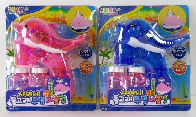 HT8013_Electric Dolpine bubble gun with sound and light - 280ML Bubble Gun Solution Included (Korean Packaging) (Pink or Blue)_電動燈光音樂海豚泡泡槍配兩瓶80ML泡泡水(韓文包裝)(2色﹕粉紅色/藍色)