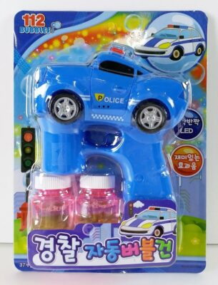 HT8081_Electric Police Car bubble gun with sound and light - 2 80ML Bubble Gun Solution Included (Korean Packaging)_電動燈光音樂警察車泡泡槍配兩瓶80ML泡泡水(韓文包裝)