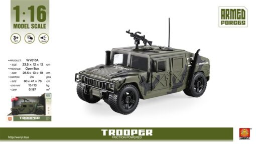 WY610A_1-16 Light & sound Jeep military vehicles_1:16 聲光慣性吉普軍車